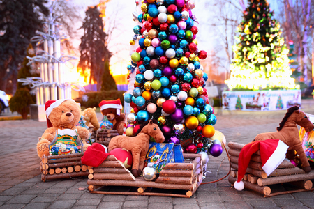 Vintage Christmas decoration with soft toys, Krasnodar, Russia photo