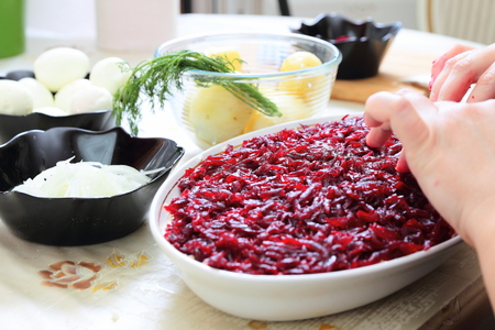 Ingredients for preparing russian traditional salad herring under fur coat photo