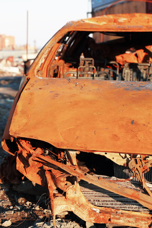 wrecked: Old rusty wrecked car, close up view