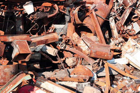 dump yard: old rusty scrap metal, close up view