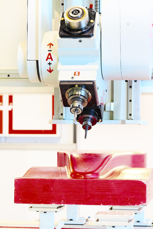 tool chuck: Industrial milling CNC machine tool with replaceable end mills Stock Photo
