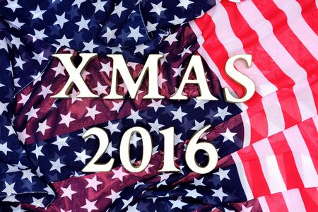cristmas card: Cristmas card with XMAS 2016 letter on the USA flag background