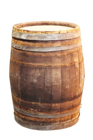 oak barrel: Old wooden oak barrel isolated on white background