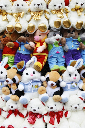 soft toys: background from many soft toys, close up Stock Photo