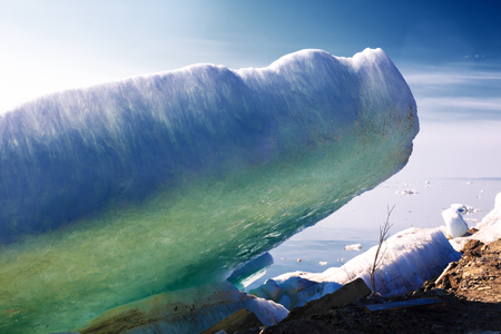 artic circle: melting blue ice in Spring, Taimyr, Russia Stock Photo