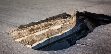 the hole in the asphalt road