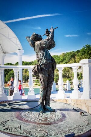 ABRAU DURSO, RUSSIA - August 27, 2015: Monument of Soviet singer Leonid Utesov