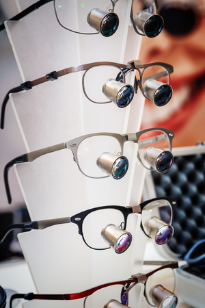 Closeup view of some magnifying glasses for dentists or watchmakers. Stock fotó
