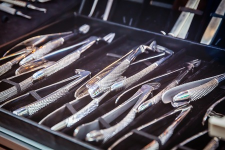 set of new metal dentist tools, selective focus Stock Photo