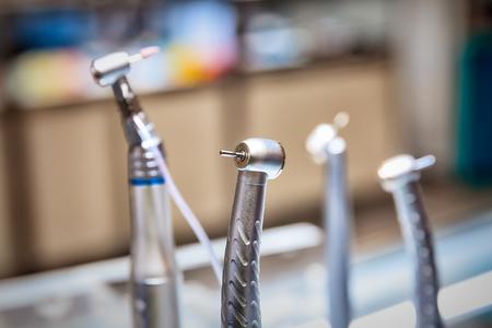 set of dentist drills, close up view
