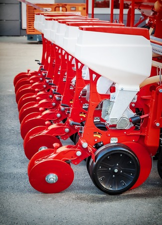 Agriculture machinery. Fragment of modern pneumatic precision seeder