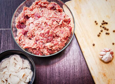 Process of making homemade sausage, mince with spices