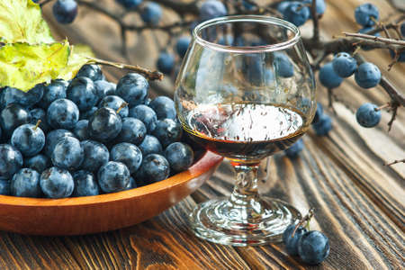 Sloe gin. Glass of blackthorn homemade light sweet reddish-brown liquid. Sloe-flavoured liqueur or wine decorated with fresh juicy ripe prunus spinosa berries on wooden background. Selective focus