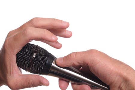 barring: The mans hand blocking the microphone on white Stock Photo