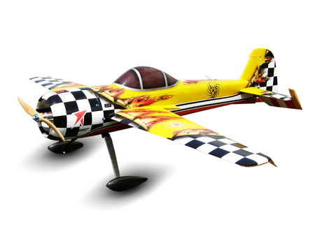 model of radio controlled aircraft with a propeller isolated on white background