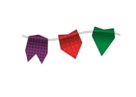 overhang: Colorful textured small flags hang on line. Colorful tags Illustration