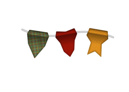 backstitch: Colorful textured small flags hang on line. Colorful tags Illustration
