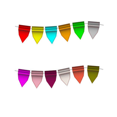 Festive Colorful small flags hang on line. Colorful tags Stock Vector - 16260969
