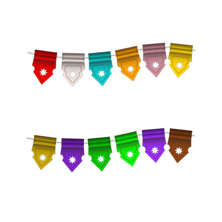 Festive Colorful small flags hang on line. Colorful tags Stock Vector - 16260970