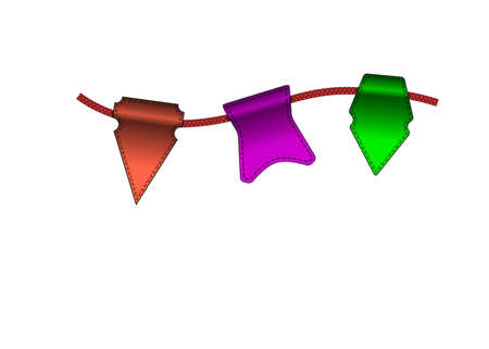 overhang: Festive Colorful small flags hang on line. Colorful tags Illustration