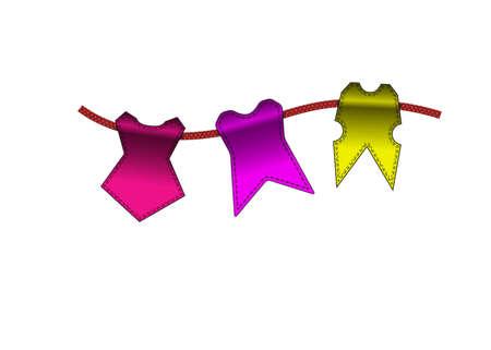 festal: Festive Colorful small flags hang on line. Colorful tags Illustration