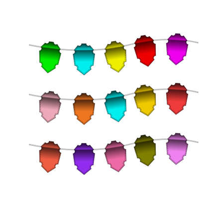 Festive Colourful small flags hang on line. Colourful tags. Vector illustration. Isolated on white background. EPS-10. Open paths expanded. Stock Vector - 16483802