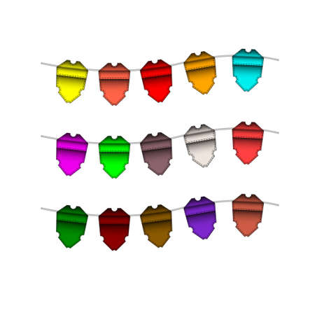 Festive Colourful small flags hang on line. Colourful tags. illustration. Isolated on white background. Open paths expanded. Illustration