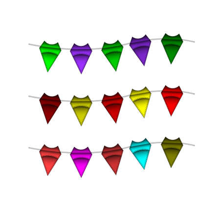 overhang: Festive Colourful small flags hang on line. Colourful tags. illustration. Isolated on white background. Open paths expanded. Illustration