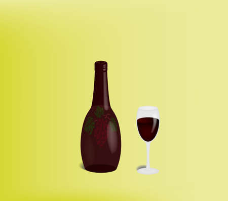 bocal:  bottle of red wine and full beaker of wine.  Transparency and 3-d effect used. Illustration