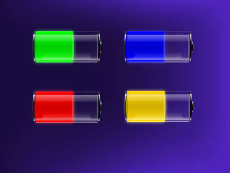 Colourful transparent batteries with indication of charge. illustration.  Transparency and transparency masks used.