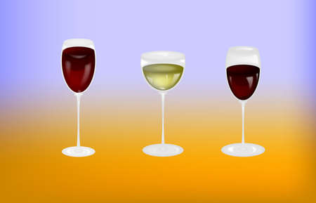 wineglasses with red and white wine. Vector illustration. . Transparency and masks used.