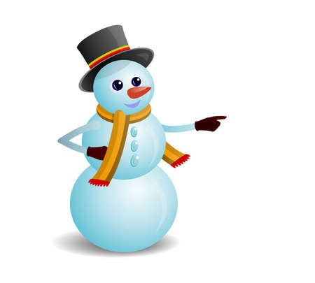 amused: Amused Snowman To Show The Way. Transparency and gradient used.