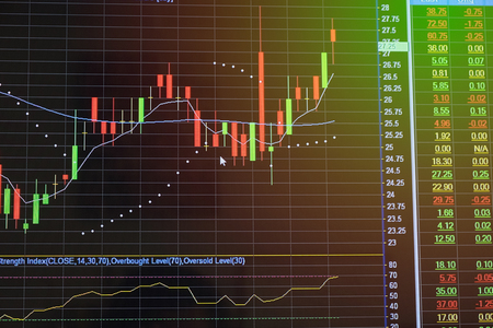 stock ticker board: Stock market chart, graph and data on LED screen television Stock market chart