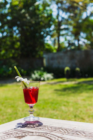 refreshed: Roselle juice is a welcome drink of the hotel. Help you feel refreshed and relief for thirsty from hot weather. Stock Photo