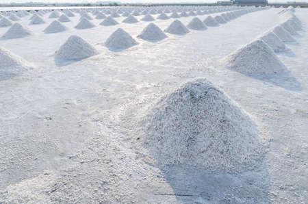 Salt field has pile of sea salt at Thailand.