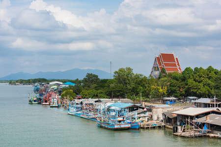 estuary: Fisherman village is located at estuary in Chanthaburi province, Thailand.