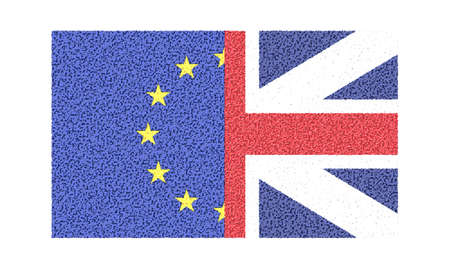 area of conflict: UK and EU flag. Brexit illustration.