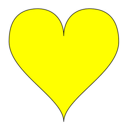 yellow heart: Simple yellow heart, isolated over a white background. Vector.