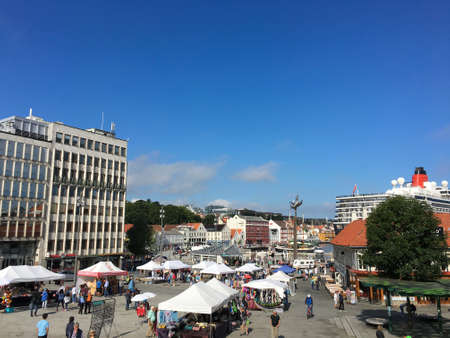 18th: AUGUST, 18th 2016 - STAVANGER, NORWAY: The market square in Stavanger a clear day in August.