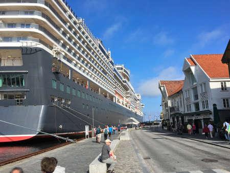 queen elizabeth: AUGUST, 18th 2016 - STAVANGER, NORWAY: The cruise ship Queen Elizabeth in Stavanger in Rogaland county, Norway. Editorial