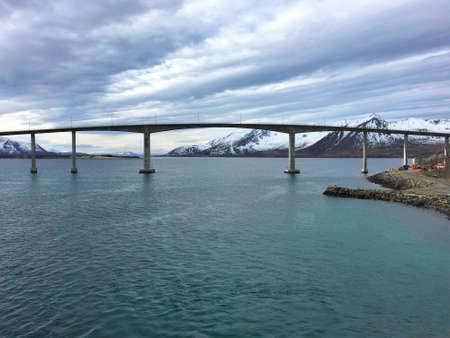 Road bridge in Risoyhamn, Norway.