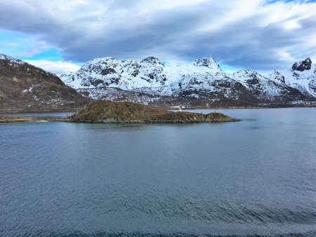 Landscape in Raftsundet strait in Lofoten and Vesteraalen in Northern Norway.