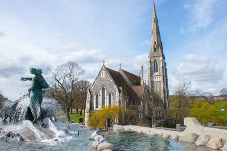 Gefion Fountain and St. Albans Church in Copenhagen, the capital of Denmark.