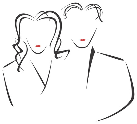 thin man: The stylised drawing of the man and the woman for your artwork.