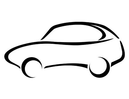 white car: Silhouette auto su uno sfondo bianco.