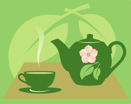 Teapot with a tea cup on a green background with a flower and leaves.  Vector