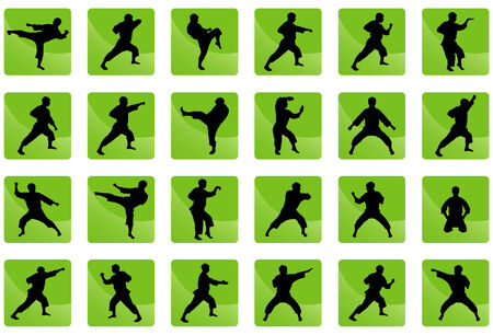 Set of black silhouettes of the person on a green background in style in karate great for your design. All icons organized in groups for usability. Vector