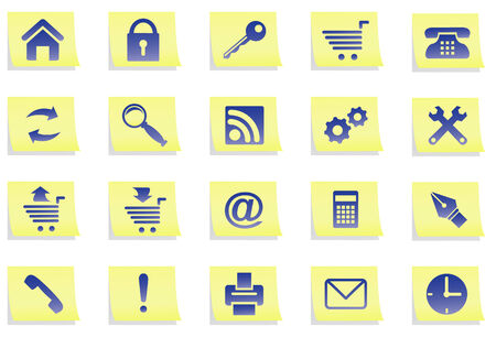 Set of icons of dark blue colour on yellow stickers. All icons organized in groups for usability. Vector