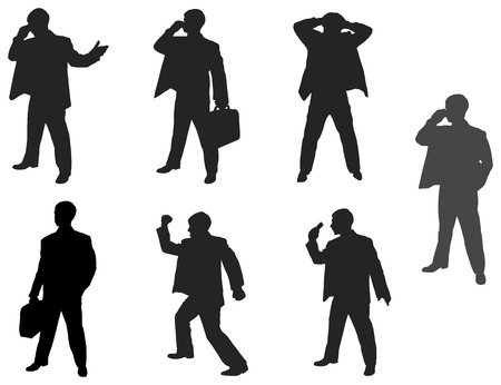 sideways: Set of silhouettes of the business man.
