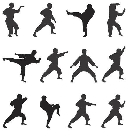 peleando: Negro conjunto de siluetas de la persona sobre un fondo blanco en el estilo de karate.